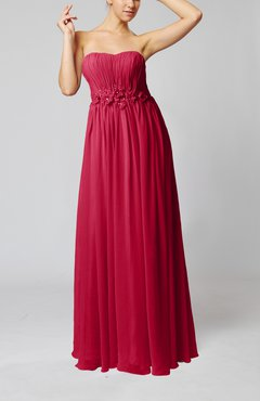 Dark Red Elegant Empire Strapless Floor Length Flower Evening Dresses