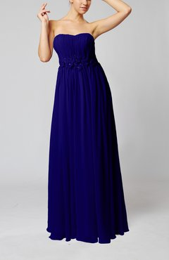 Electric Blue Elegant Empire Strapless Floor Length Flower Evening Dresses