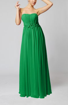 Green Elegant Empire Strapless Floor Length Flower Evening Dresses