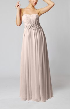 Light Pink Elegant Empire Strapless Floor Length Flower Evening Dresses