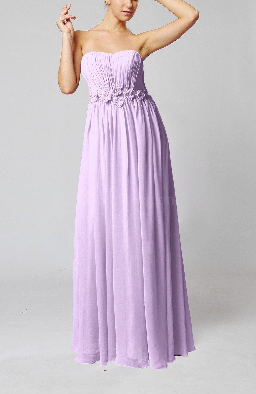 Light Purple Elegant Empire Strapless Floor Length Flower