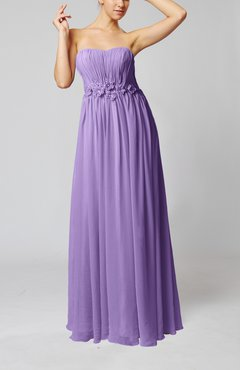 Lilac Elegant Empire Strapless Floor Length Flower Evening Dresses