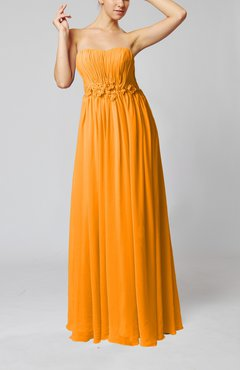 Orange Elegant Empire Strapless Floor Length Flower Evening Dresses