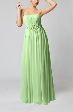 Pale Green Elegant Empire Strapless Floor Length Flower Evening Dresses