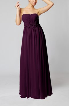 Plum Elegant Empire Strapless Floor Length Flower Evening Dresses
