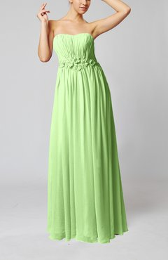 Sage Green Elegant Empire Strapless Floor Length Flower Evening Dresses