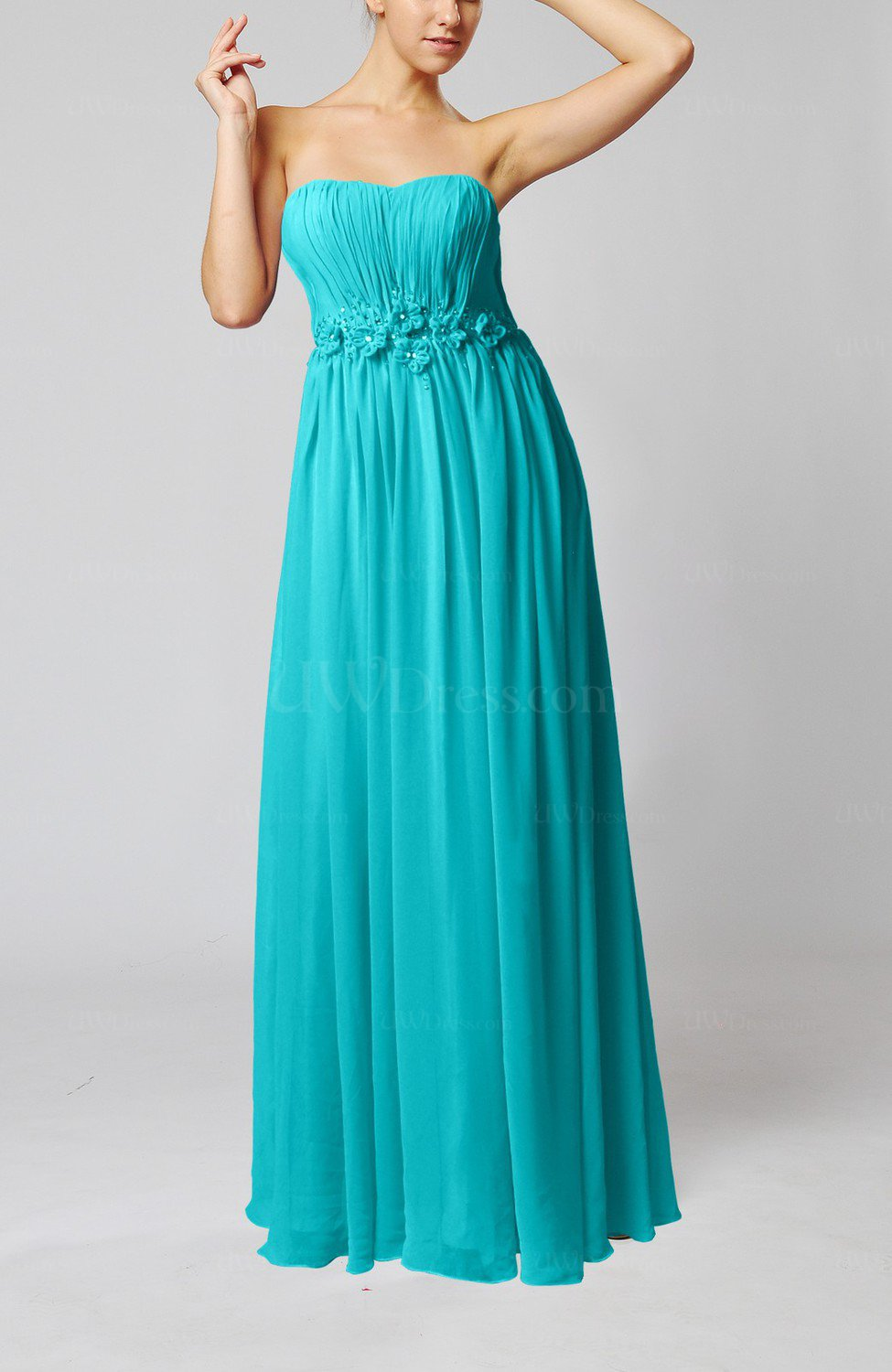 Teal Elegant Empire Strapless Floor Length Flower Evening
