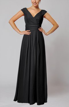 Black Simple V-neck Sleeveless Floor Length Ruching Evening Dresses