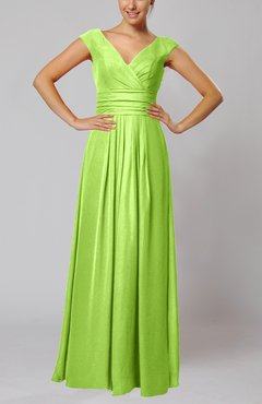 Bright Green Simple V-neck Sleeveless Floor Length Ruching Evening Dresses