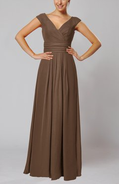 Brown Simple V-neck Sleeveless Floor Length Ruching Evening Dresses