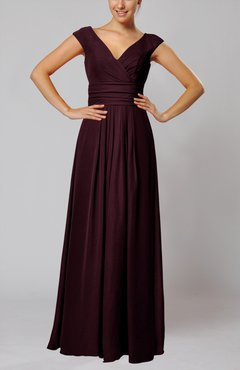 Burgundy Simple V-neck Sleeveless Floor Length Ruching Evening Dresses