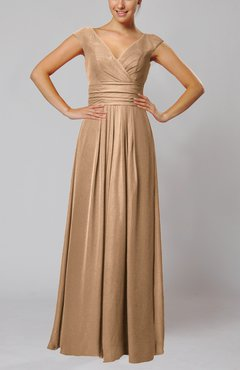 Burnt Orange Simple V-neck Sleeveless Floor Length Ruching Evening Dresses