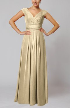 Champagne Simple V-neck Sleeveless Floor Length Ruching Evening Dresses