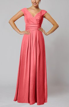 Coral Simple V-neck Sleeveless Floor Length Ruching Evening Dresses