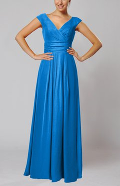 Cornflower Blue Simple V-neck Sleeveless Floor Length Ruching Evening Dresses