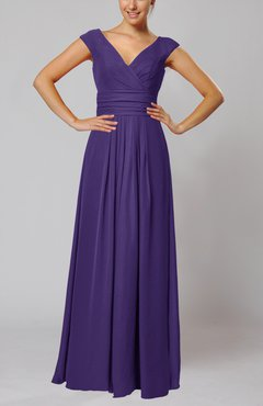 Dark Purple Simple V-neck Sleeveless Floor Length Ruching Evening Dresses