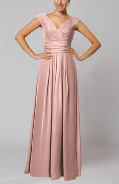 Dusty Rose Simple V-neck Sleeveless Floor Length Ruching Evening Dresses