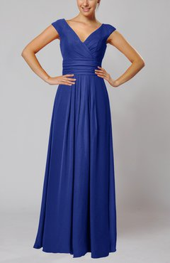 Electric Blue Simple V-neck Sleeveless Floor Length Ruching Evening Dresses