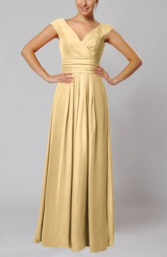Gold Simple V-neck Sleeveless Floor Length Ruching Evening Dresses