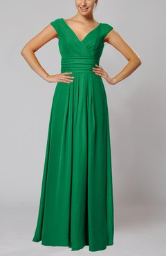 Green Simple V-neck Sleeveless Floor Length Ruching Evening Dresses