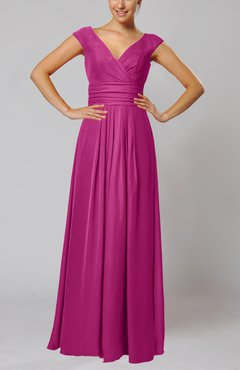 Hot Pink Simple V-neck Sleeveless Floor Length Ruching Evening Dresses