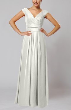 Ivory Simple V-neck Sleeveless Floor Length Ruching Evening Dresses