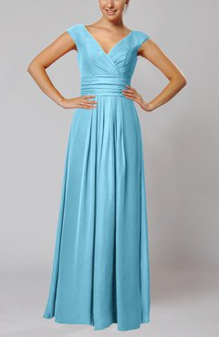 Light Blue Simple V-neck Sleeveless Floor Length Ruching Evening Dresses