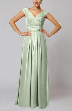 Pale Green Simple V-neck Sleeveless Floor Length Ruching Evening Dresses