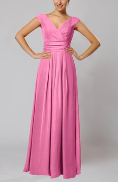 Pink Simple V-neck Sleeveless Floor Length Ruching Evening Dresses