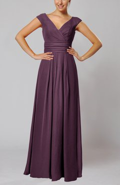 Plum Simple V-neck Sleeveless Floor Length Ruching Evening Dresses