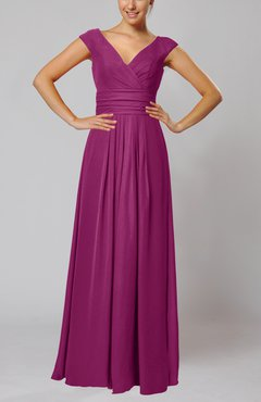 Raspberry Simple V-neck Sleeveless Floor Length Ruching Evening Dresses