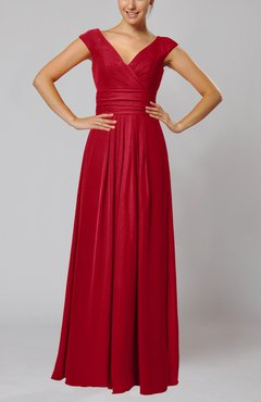 Red Simple V-neck Sleeveless Floor Length Ruching Evening Dresses