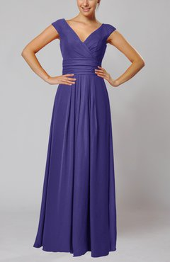 Royal Purple Simple V-neck Sleeveless Floor Length Ruching Evening Dresses