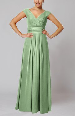 Sage Green Simple V-neck Sleeveless Floor Length Ruching Evening Dresses