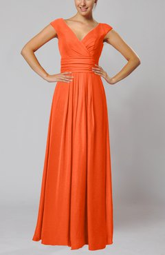 Tangerine Simple V-neck Sleeveless Floor Length Ruching Evening Dresses