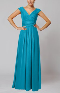 Teal Simple V-neck Sleeveless Floor Length Ruching Evening Dresses