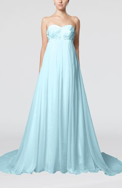 Aqua Cinderella Outdoor Empire Backless Chiffon Court Train Pleated Bridal Gowns