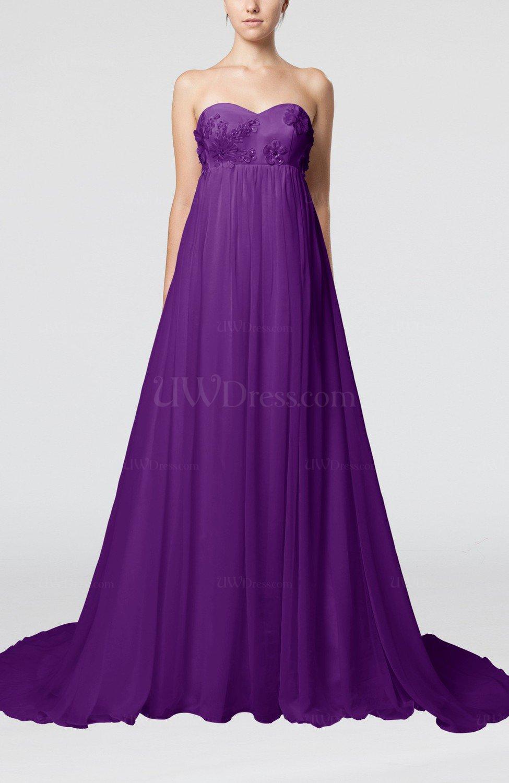 Dark Purple Cinderella Outdoor Empire Backless Chiffon Court Train ...