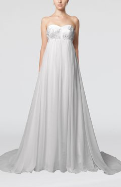 White Cinderella Outdoor Empire Backless Chiffon Court Train Pleated Bridal Gowns