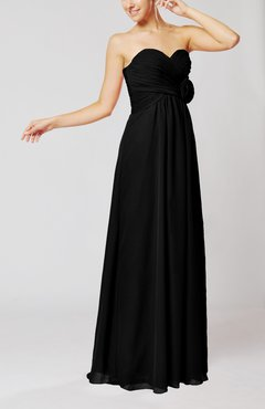 Black Simple Sheath Sweetheart Sleeveless Chiffon Floor Length Bridesmaid Dresses