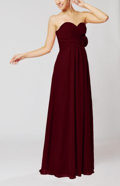 Burgundy Simple Sheath Sweetheart Sleeveless Chiffon Floor Length Bridesmaid Dresses