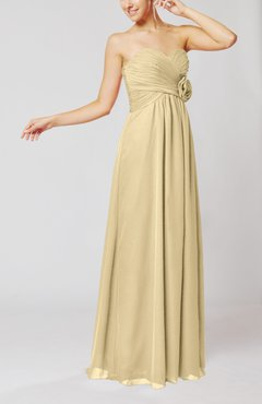 Champagne Simple Sheath Sweetheart Sleeveless Chiffon Floor Length Bridesmaid Dresses