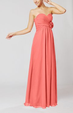 Coral Simple Sheath Sweetheart Sleeveless Chiffon Floor Length Bridesmaid Dresses