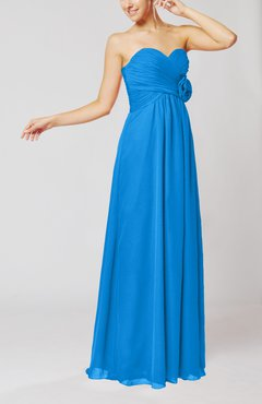 Cornflower Blue Simple Sheath Sweetheart Sleeveless Chiffon Floor Length Bridesmaid Dresses
