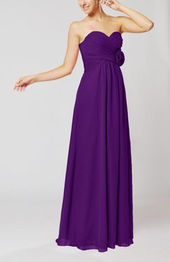 Dark Purple Simple Sheath Sweetheart Sleeveless Chiffon Floor Length Bridesmaid Dresses