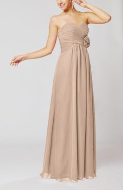 Dusty Rose Simple Sheath Sweetheart Sleeveless Chiffon Floor Length Bridesmaid Dresses
