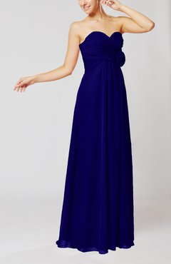 Electric Blue Simple Sheath Sweetheart Sleeveless Chiffon Floor Length Bridesmaid Dresses