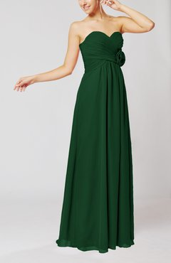 Hunter Green Simple Sheath Sweetheart Sleeveless Chiffon Floor Length Bridesmaid Dresses