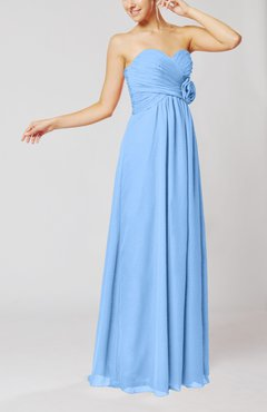 Light Blue Simple Sheath Sweetheart Sleeveless Chiffon Floor Length Bridesmaid Dresses