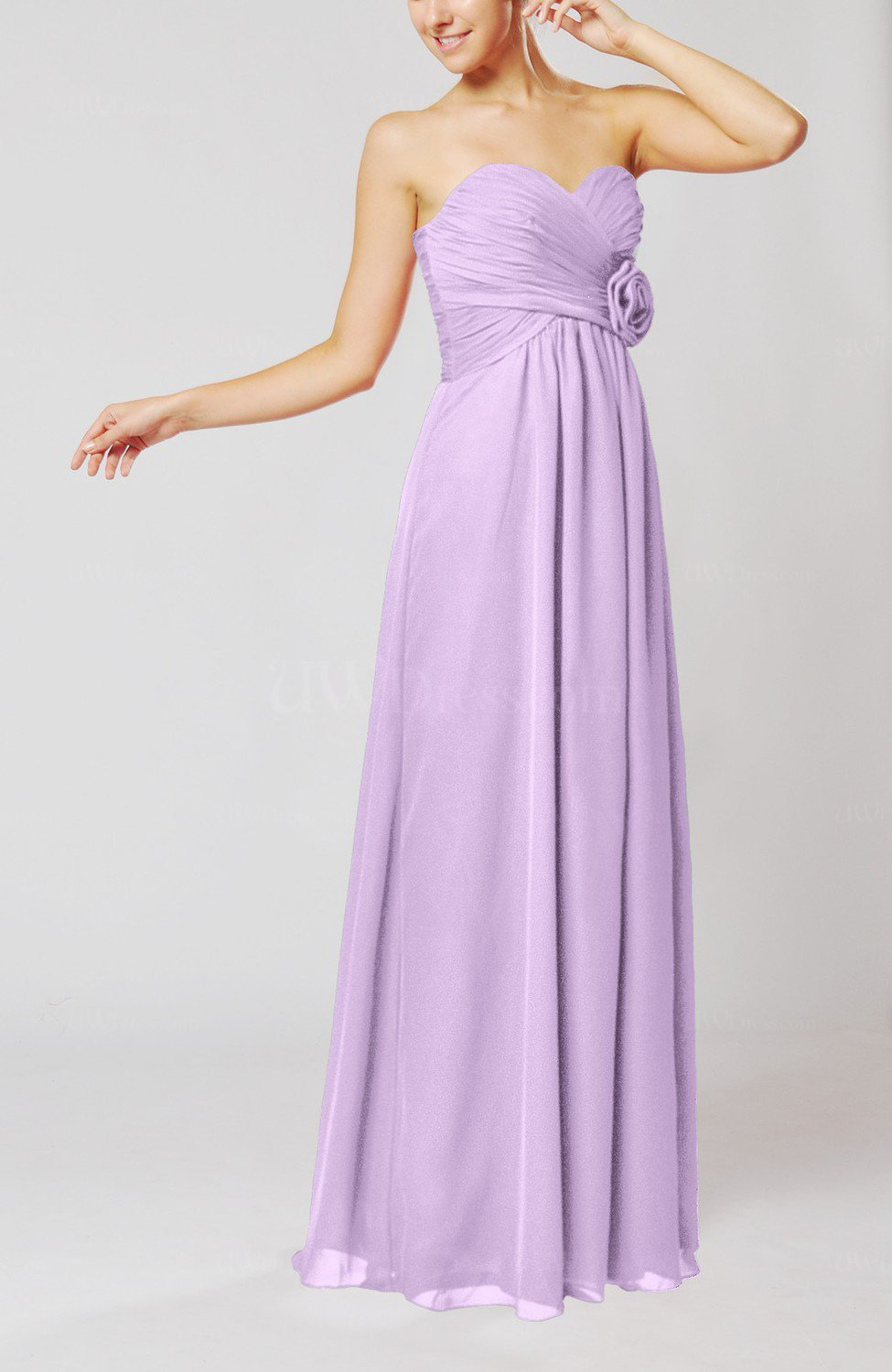 Light Purple Simple Sheath Sweetheart Sleeveless Chiffon ...